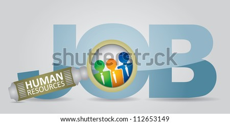 Job search - human resource concept - abstract illustration with sign