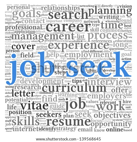 Job seek concept in word tag cloud on white background