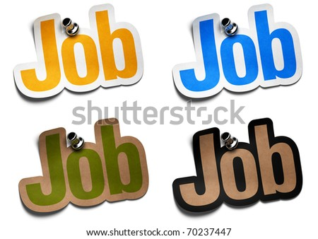 job stickers over a white background