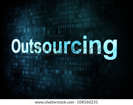 Job, work concept: pixelated words Outsourcing on digital screen, 3d render