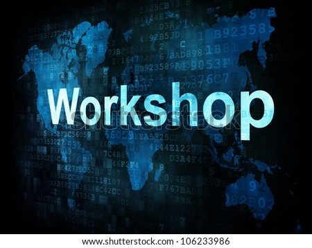 Job, work concept: pixelated words Workshop on digital screen, 3d render