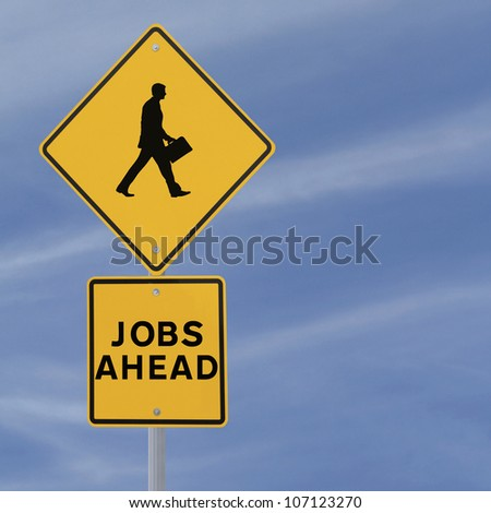 Jobs Ahead road sign with a silhouette of walking man (on a blue sky background with copy space)