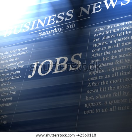 Jobs in the news paper on a soft blue background