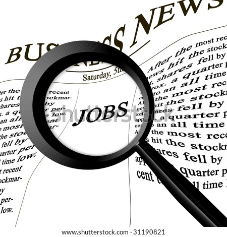 jobs in the news paper on a white background