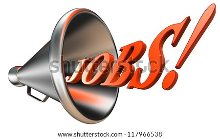 jobs orange word in megaphone on white background. clipping path included