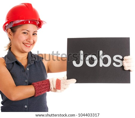 Jobs Sign With Construction Worker Showing Work And Careers