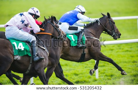 Jockey and horse taking the lead in a race #531205432