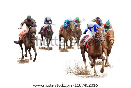jockey horse racing isolated on white background #1189432816