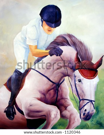 Jockey oil painting - I am author of this image, person is not exist