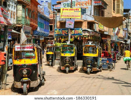 jodhpur india august 15 auto rickshaws also known as tuk tuk waiting for passengers on a. Black Bedroom Furniture Sets. Home Design Ideas