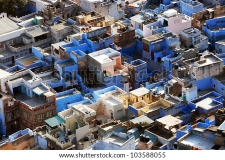 """Jodhpur the """"Blue city"""" in Rajasthan, India - view from the Mehrangarh Fort"""