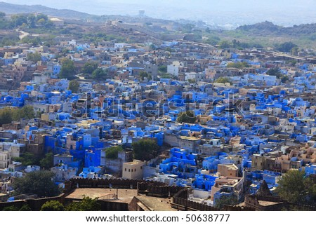 "Jodhpur the ""blue city"" in Rajasthan state in India. View from the Mehrangarh Fort."