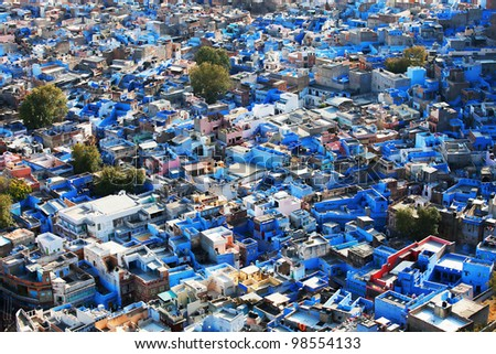 "Jodhpur the ""Blue city"" in Rajasthan, India  - view from the Mehrangarh Fort - stock photo"