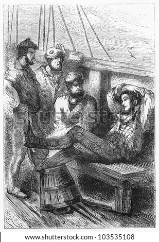 Joe talking with the sailors - Picture from the Jules Verne - Five Weeks in a Balloon book, published in 1881, Paris - France. Drawing by Edouard Riou.