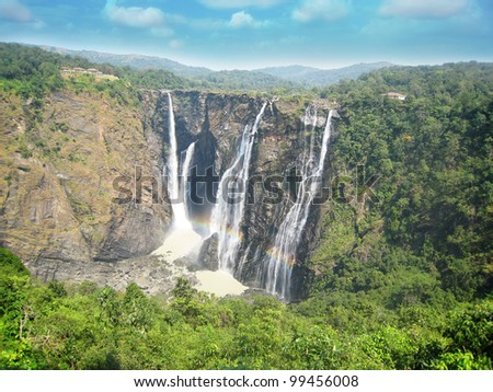 Jog water falls at shimoga, karnataka, is one of the highest plunge waterfalls in India. It is also called by alternative names of Gerusoppe falls, Gersoppa Falls and Jogada Gundi. - stock photo