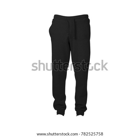 jogger pant front view black color in white background for mockup template #782525758