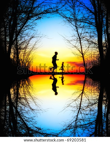 Jogging at Sunset - stock photo
