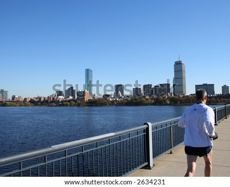 Jogging by Charles River Boston Massachusetts