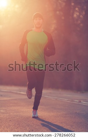 Jogging in sunrise/sunset.
