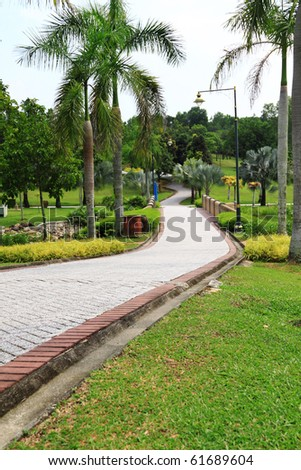 Jogging track at garden. Concept of outdoor relaxation venue.