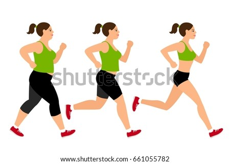 Jogging weight loss woman. Overweight fat lady and fitness slim girl illustration