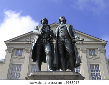 Johann Wolfgang Goethe and Friedrich Schiller Monument in Weimar,Germany