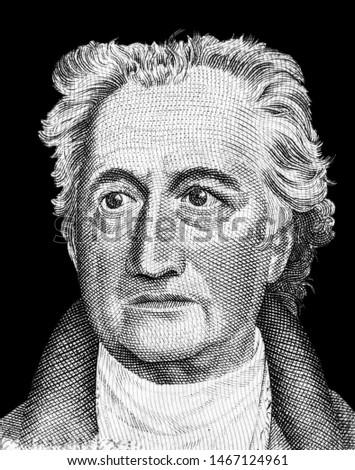 Johann Wolfgang von Goethe (1749-1832), Portrait from Germany 20 mark 1964 Banknotes.  Stock fotó ©