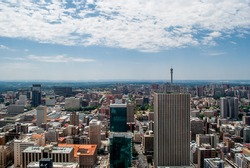 Johannesburg central business district skyline featuring the Hillbrow Tower (2016)