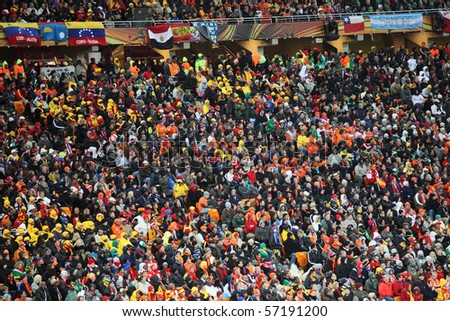 JOHANNESBURG - JULY 11 : Final at Soccer City Stadium: Spain vs. Netherlands on July 11, 2010 in Johannesburg. Supporters and fans