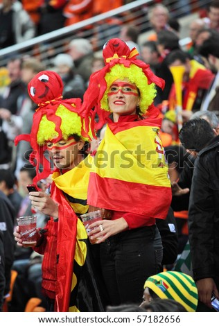 JOHANNESBURG - JULY 11 :  Final match at Soccer City Stadium: Spain vs. Netherlands.  Spanish supporters wearing costumes with octopus Paul which predicted the victory of their team