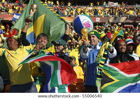 JOHANNESBURG - JUNE 5:  Bafana Bafana supporters cheer prior to the start of a World Cup match between South Africa and Mexico June 11, 2010 in Johannesburg, South Africa  EDITORIAL ONLY NO MOBILE USE