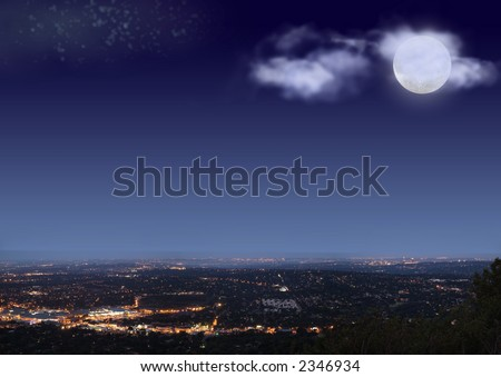 Johannesburg night cityscape with big bright moon, stars and clouds on blue black sky