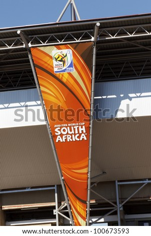 JOHANNESBURG, SOUTH AFRICA - JUNE 21:  A banner hangs outside Ellis Park Stadium in Johannesburg, South Africa on June 21, 2010 ahead of a FIFA World Cup soccer match.