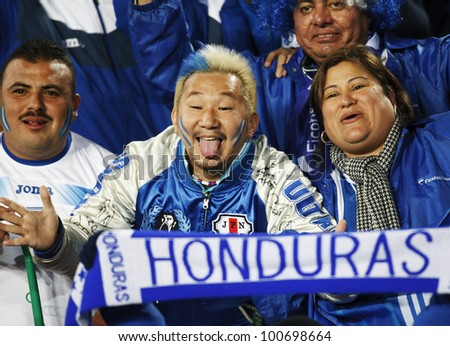 JOHANNESBURG, SOUTH AFRICA - JUNE 21:  Honduras supporters have fun in the stands at a World Cup match June 21, 2010 in Johannesburg, South Africa.