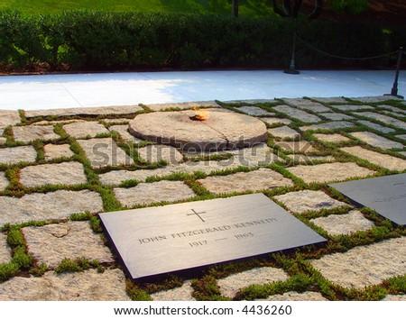 John F Kennedy Gravestone, Eternal Flame at Washington Memorial