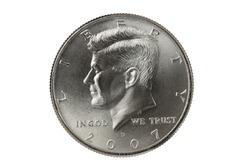 John F Kennedy Half Dollar coin with clipping path.