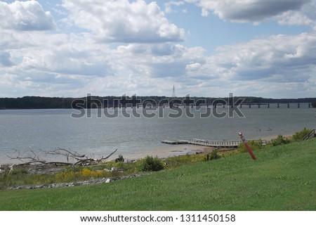 John H. Kerr Resevoir (Buggs Island Lake) near Clarksville, VA with a railroad bridge crossing the Roanoke River in the distance.