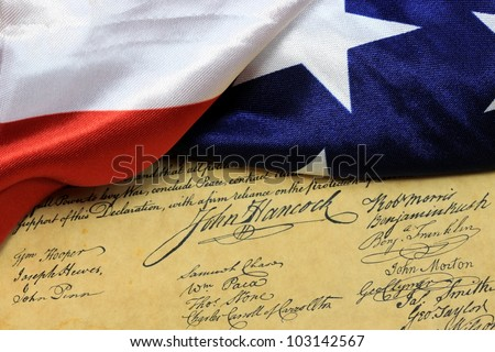 John Hancock - United States of America Constitution and USA Flag
