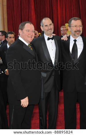 John Lasseter & Steve Jobs at the 82nd Annual Academy Awards at the Kodak Theatre, Hollywood. March 7, 2010  Los Angeles, CA Picture: Paul Smith / Featureflash - stock photo