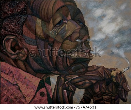 JOHN LEE HOOKER,  famous musicians, celebrities of jazz,oil painting, artist Roman Nogin, series