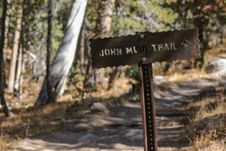John Muir Trail Sign in the Woods