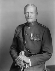 John Pershing, World War 1 commander of the U.S. forces in Europe. Ca. 1918.