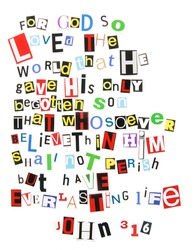 John 3:16 - ransom note style