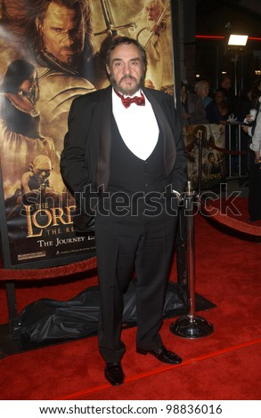 JOHN RHYS-DAVIES at the USA premiere of his new movie The Lord of the Rings: The Return of the King, in Los Angeles. December 3, 2003  Paul Smith / Featureflash