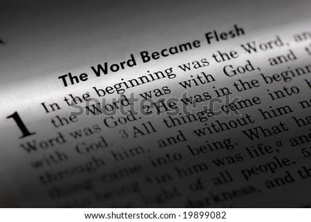 John 1:1 - The word became flesh. Popular New Testament passage - stock photo