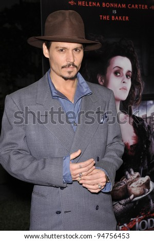 "Johnny Depp at industry screening of his movie ""Sweeney Todd the Demon Barber of Fleet Street"" at Paramount Studios, Hollywood. December 5, 2007  Los Angeles, CA Picture: Paul Smith / Featureflash"