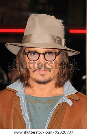 "Johnny Depp at the ""Rango"" Los Angeles Premiere, Village Theater, Westwood, CA. 02-14-1 at the ""Rango"" Los Angeles Premiere, Village Theater, Westwood, CA. 02-14-11"