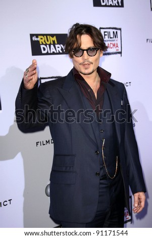 """Johnny Depp at""""The Rum Diary"""" Los Angeles Premiere, LACMA, Los Angeles, CA 10-13-1 - stock photo"""