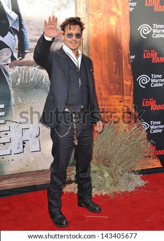 Johnny Depp at the world premiere of his new movie The Lone Ranger at Disney California Adventure June 22 2013 Anaheim CA