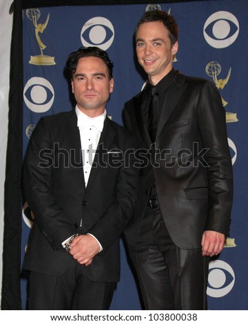 Johnny Galecki and Jim Parsons in the Press Room at the 61st Annual Primetime Emmy Awards. Nokia Theatre, Los Angeles, CA. 09-20-09